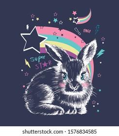 Cute sweet hand drawn rabbit bunny with rainbow vector illustration on black background