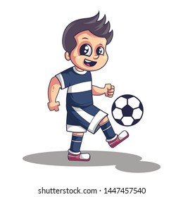 A cute sweet little Boy playing football/soccer. Vector illustration isolated on white background.