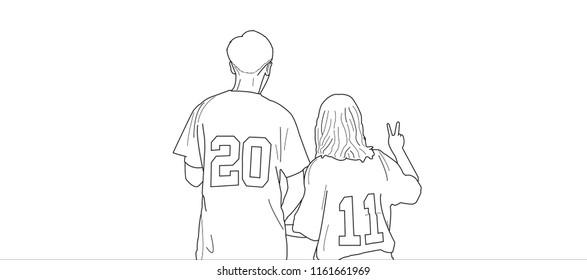 Cute, sweet, lovely couple wearing sports couple jersey.