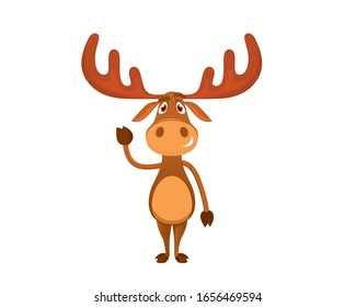 Cute and Sweet Moose Illustration with Cartoon Style