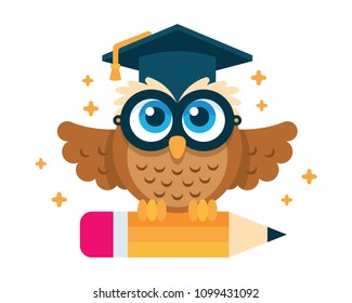 Cute and sweet owl school learning symbol vector file