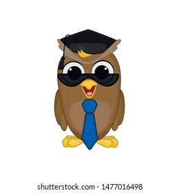 Cute and sweet owl student in dark glasses and  tie, learning symbol. Vector isolated illustration on the white background