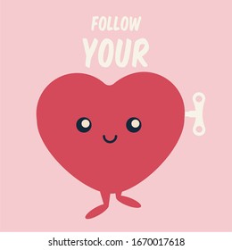 cute & sweet red character art with face flat design isolated cartoon. love yourself vector icon & follow your heart text. believe in your dreams motivation concept creative symbol illustration clean