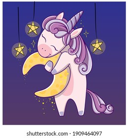 Cute sweet unicorn with moon and stars. Girly flat vector hand drawings for kids and children. Fairy character, cute, animals, horse. Pony unicorn with moon and stars, cute and very pretty.