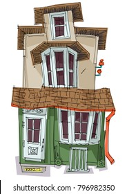 Cute and sweet vintage facade. Caricature. Cartoon.