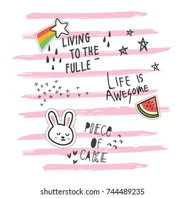 Cute t shirt design in doodle style with patches and hand written quotes