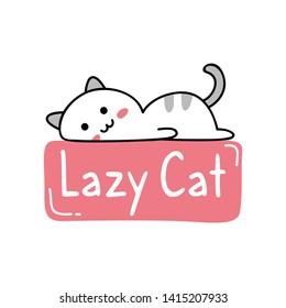 Cute t shirt design with kawaii lazy cat