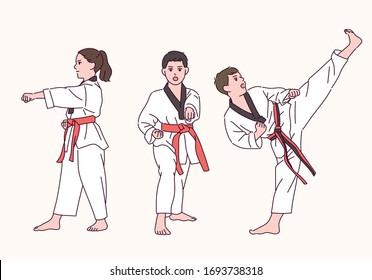 Cute Taekwondo boy and girl. hand drawn style vector design illustrations.