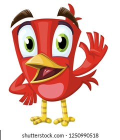 cute talking red bird, waving bird with yellow foots