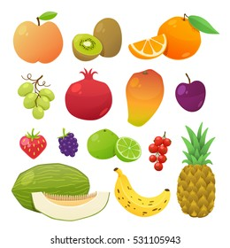 Cute and tasty fruits collection. Vector illustration.