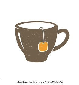 Cute сup of tea. Brown mug with tea bag isolated on a transparent background. Vector shabby hand drawn illustration
