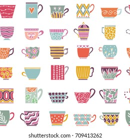 Cute tea cups seamless pattern. Background withe cups for tea and coffee