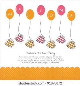 cute tea party invitation card with balloon