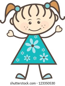 Cute Teal Stick Figure Girl | Adorable stick figure of a girl in a teal dress with flowers on it and wearing pig tails and a big smile with heart shaped hands.