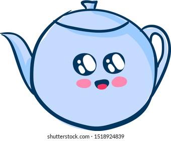 Cute teapot, illustration, vector on white background.