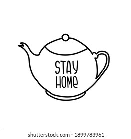 Cute teapot for stickers, logo. Stay Home, work in home. Home quarantine, pandemic protection. Hand drawn vector illustration on a white background.