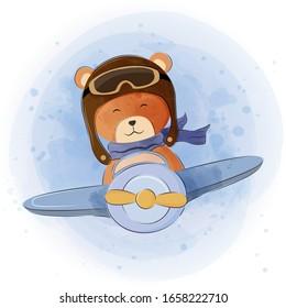 cute teddy bear in airplane