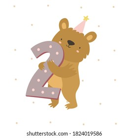 cute teddy bear, animal baby. happy Birthday. two years. two month. baby shower