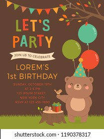 Cute teddy bear, bird and snail cartoon illustration for kids party invitation card template.
