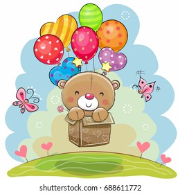 Cute Teddy Bear in the box is flying on balloons