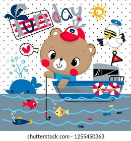 Cute teddy bear boy cartoon fishing in a boat at the sea on polka dot background illustration vector.