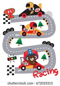 Cute teddy bear cartoon driving formula race car on race track illustration. /Vector print for children wear.