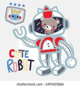 Cute teddy bear cartoon riding robot isolated on white background illustration vector.