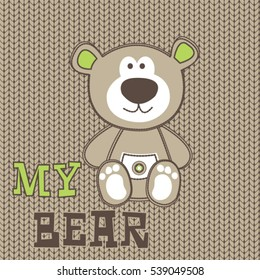 cute teddy bear cartoon, T-shirt design for kids vector illustration