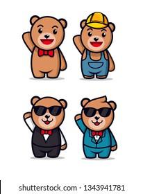 cute teddy bear character mascot designs