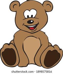 Cute Teddy Bear Color Cartoon Isolated Vector Illustration