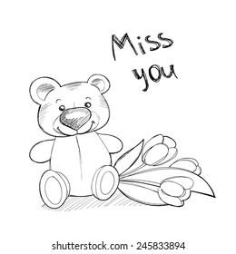 Cute teddy bear with flowers. Vector line illustration