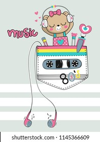 Cute teddy bear girl wearing headphones and listening to music in the pocket on gray background illustration vector, T-shirt design for kids.
