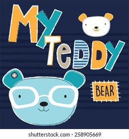 cute teddy bear with glasses, T-shirt design vector illustration
