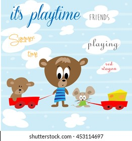 Cute teddy bear and his friends playing in vector illustration