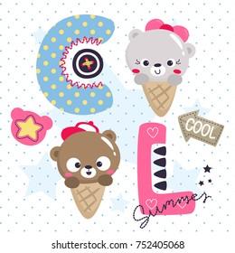 Cute teddy bear ice cream cone cartoon boy and girl on polka dot background illustration vector.