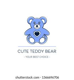 Cute teddy bear logo template design vector illustration