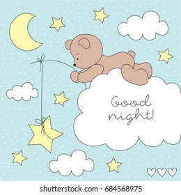 cute teddy bear on the cloud vector illustration