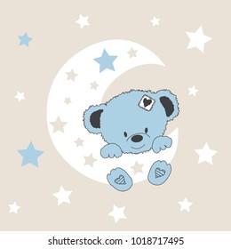 cute teddy bear on the moon, baby shower card vector illustration