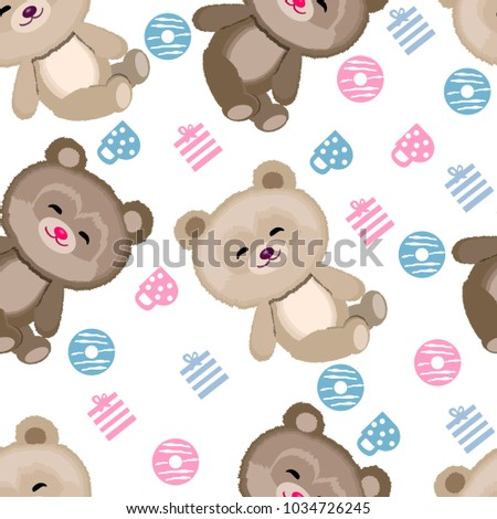 Cute Teddy Bear Pattern On White Stock Vektorgrafik Lizenzfrei