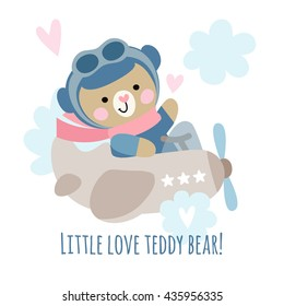 Cute teddy bear pilot on a plane in the sky. Children's illustration with a bear.