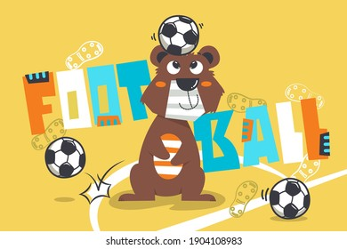 Cute teddy bear playing football isolated on yellow background illustration vector, for t-shirt print.