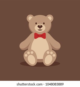 Cute teddy bear with red bow tie on brown background. Funny stuffed toy flat illustration.