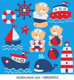 Cute teddy bear sailing nautical vector illustration. Summer, sea, vacation, holiday.
