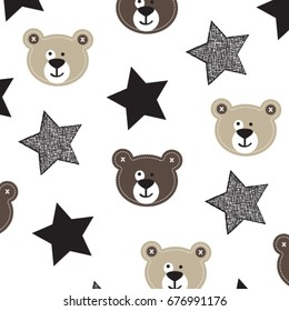 cute teddy bear with stars, bedding pattern for kids, wrapping paper, vector textile fabric print