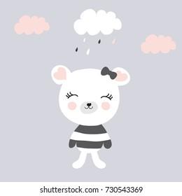 cute teddy bear under rain vector illustration