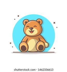 Cute Teddy Bear Vector Illustration. Baby Toy Icon Logo. Brown Teddy Bear. Kids. Baby Bear.