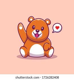 Cute Teddy Bear Waving Hand Vector Icon Illustration. Animal Icon Concept Isolated Premium Vector. Flat Cartoon Style