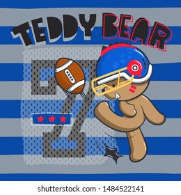 Cute teddy bear wearing football helmet and kicking football on striped background illustration vector.