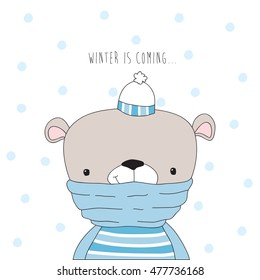 cute teddy bear in winter vector illustration