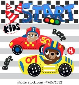 Cute teddy bears cartoon driving race car on race track illustration. /Vector print for children wear.